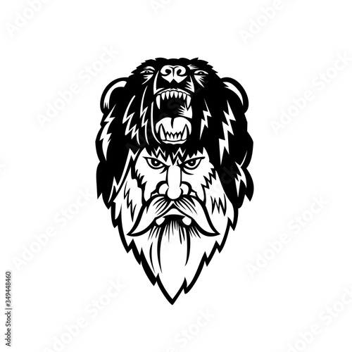 Berserker Wearing Bear Head Skin Black and White Canvas Print