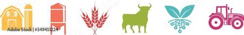 Fototapeta  Icon of various symbols of agriculture obraz