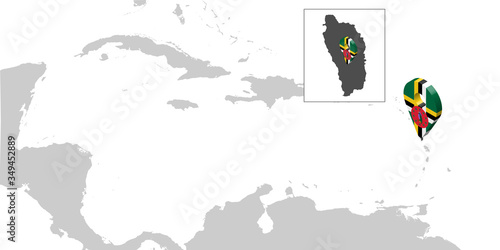 Photo Location Map Dominica on map Central America