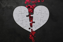 White Heart-shaped Puzzle. Heart Affairs. Undivided Love. Broken Heart. The Key To The Heart. Closed Heart On A Lock. Concept Of Love.