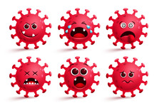 Corona Virus Emoticon Vector Set. Covid-19 Coronavirus Icon Emoji And Emoticons With Red Sad, Naughty And Dizzy Facial Expressions For Global Pandemic Disease Collection Isolated In White.
