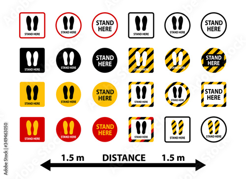 Cuadros en Lienzo Stand here and keep distance stickers collection.
