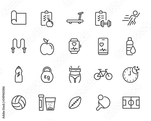 Fototapeta set of fitness icons, healhty, gym, diet, sport obraz