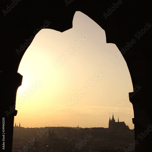 Silhouette Of City At Sunset Canvas Print