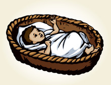 Little Baby In A Basket. Vector Drawing