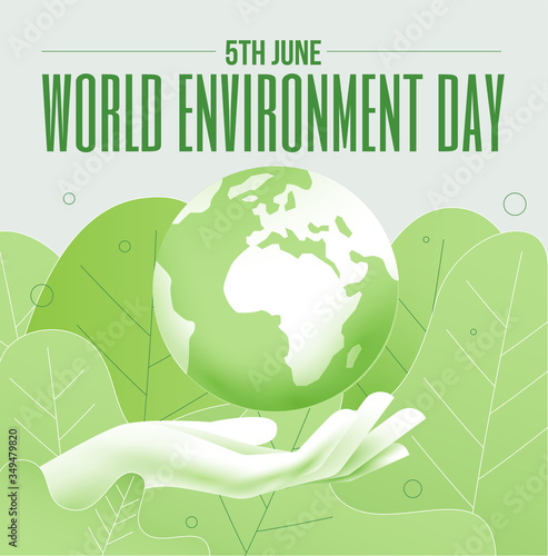 World environment day 5th June banner or poster concept with Earth planet globe and human hand in green colors. Vector illustration