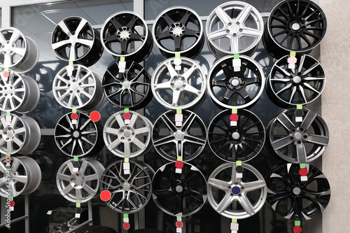 Alloy wheels on display in auto store Wallpaper Mural