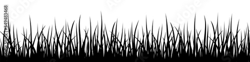 Obraz Vector decorative seamless pattern with black grass leaves on white background - fototapety do salonu