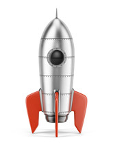 Rocket Isolated On White Background - 3d Rendering Of 3d Rocket Icon