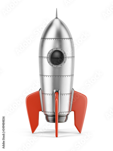 Fototapeta Rocket isolated on white background - 3d rendering of 3d rocket icon obraz