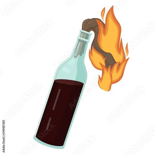 Photo Burning molotov cocktail