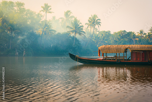 Fotografía A traditional house boat is anchored on the shores of a fishing lake in the palm