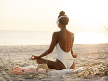 Woman In Yoga Meditation Pose ...