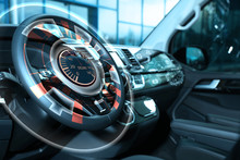 Futuristic Technology. Car Interior With Graphical User Interface