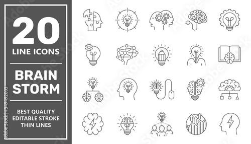 Fotografia Brainstorming Line Icons Set