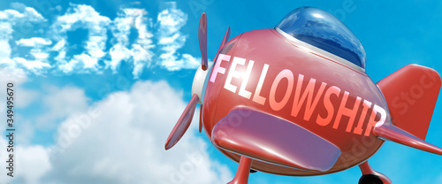 Fellowship helps achieve a goal - pictured as word Fellowship in clouds, to symb Canvas-taulu