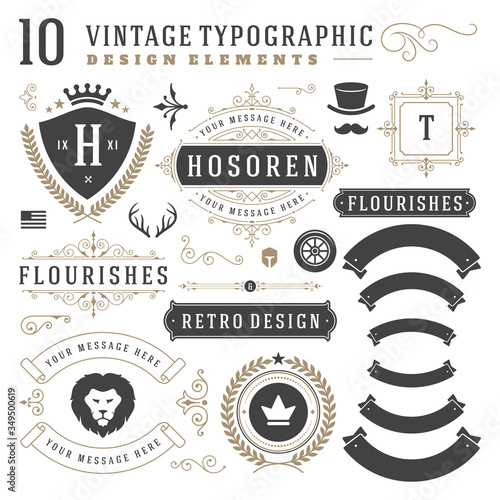 Fototapeta Vintage typographic design elements set vector illustration obraz na płótnie