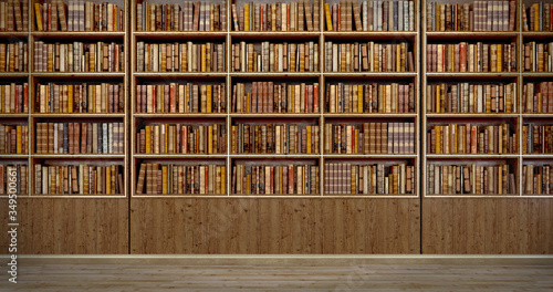 Panorama old books on wooden shelf in book shop or library Wallpaper Mural