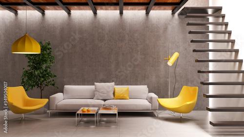 Fototapety, obrazy: Large luxury modern minimal bright interiors room mockup illustration 3D rendering