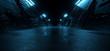 canvas print picture Neon Blue Dark Metal Schematic Textured Alien Spaceship Warehouse Tunnel Corridor Hallway Triangle Shaped Empty Rough Cement Concrete Asphalt Background 3D Rendering