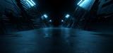 Fototapeta Perspektywa 3d - Neon Blue Dark Metal Schematic Textured Alien Spaceship Warehouse Tunnel Corridor Hallway Triangle Shaped Empty Rough Cement Concrete Asphalt Background 3D Rendering