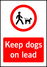 Keep Dogs On Lead Vector Sign