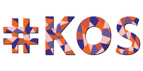 Kos hashtag - mosaic isolated inscription. Letters from pieces of triangles and polygons. Blue, orange, beige colors. Kos - Greek island. For poster, booklet, souvenir, prints on clothing, t-shirts.