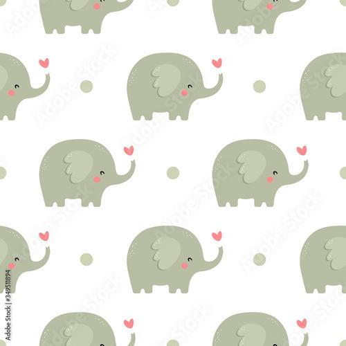 Elephant cute seamless pattern, Cartoon elephant background, vector illustration Wallpaper Mural