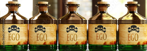 Foto Ego can be like a deadly poison - pictured as word Ego on toxic bottles to symbo
