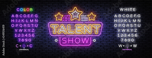 Tablou Canvas Talent Show neon sign vector