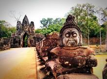 Sculptures At The Way Of Angko...