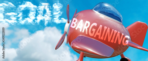 Photo Bargaining helps achieve a goal - pictured as word Bargaining in clouds, to symb