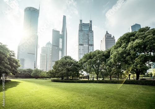 park in lujiazui financial centre, Shanghai, China #349525648