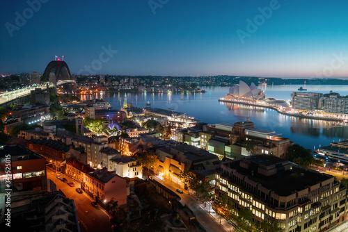 sunrise, Aerial view of Sydney with Harbour Bridge, Australia #349525815