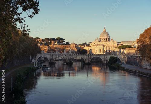 St. Peter's Basilica, Sant Angelo Bridge, Vatican, Rome, Italy #349526098