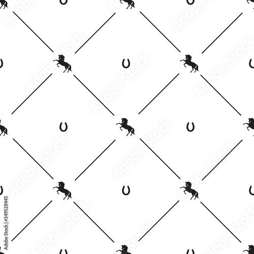 Photo Vector black horse horseshoe seamless pattern a