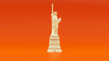 White Orange Statue Of Liberty Icon Of Freedom Front View 3d Illustration 3d Render