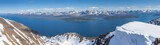 Panoramic View Of Lake And Snow Covered Mountains