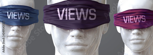 Obraz na plátně Views can blind our views and limit perspective - pictured as word Views on eyes