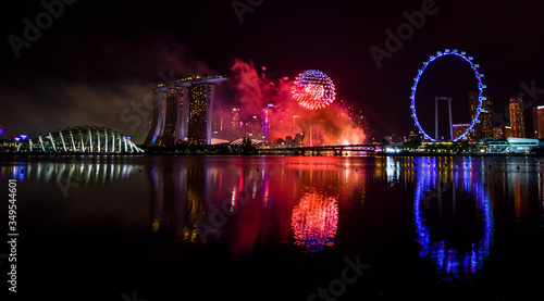 Photo Fireworks in Singapore on New Year's Eve