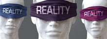 Reality Can Blind Our Views And Limit Perspective - Pictured As Word Reality On Eyes To Symbolize That Reality Can Distort Perception Of The World, 3d Illustration
