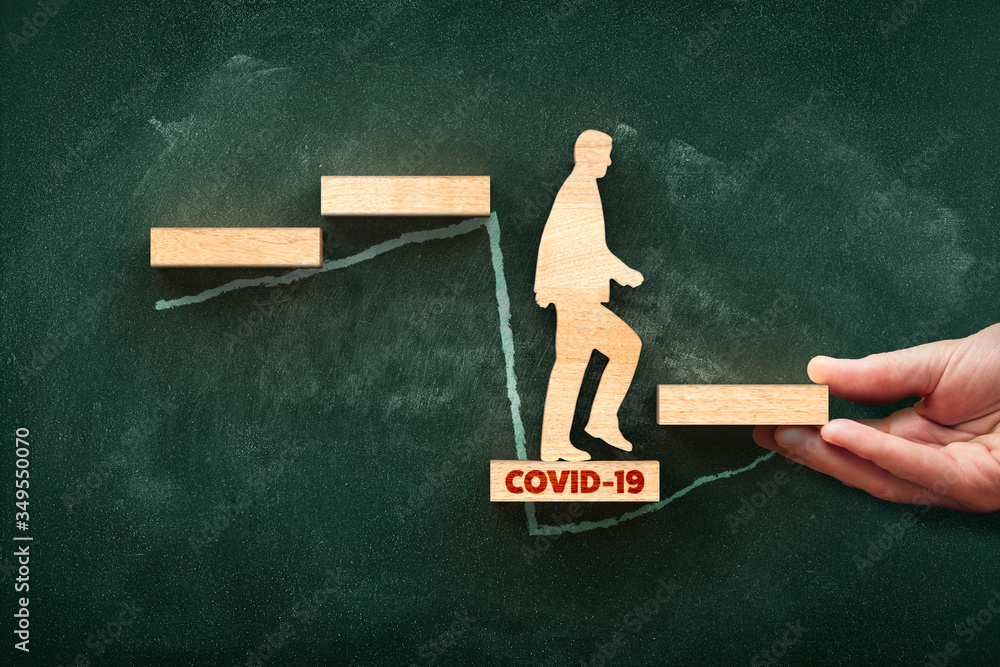 Fototapeta Post covid-19 era helping hand for business and economy concept