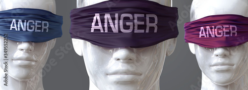 Photo Anger can blind our views and limit perspective - pictured as word Anger on eyes