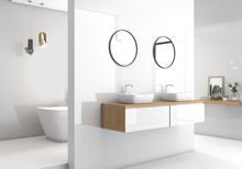 Modern White Bathroom 3d Rende...