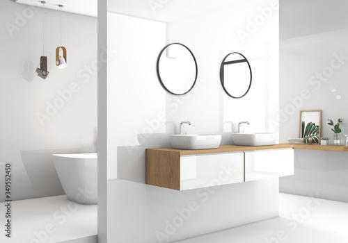 Fotografie, Obraz Modern white bathroom 3d rendering