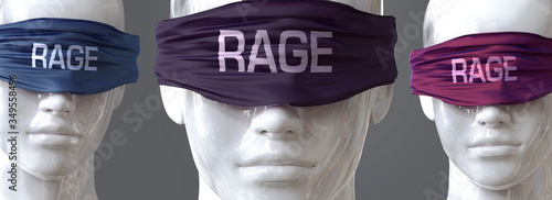 Fotografie, Obraz Rage can blind our views and limit perspective - pictured as word Rage on eyes t