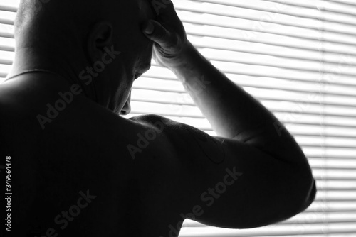 Fototapety, obrazy: Close-up Of Shirtless Man With Muscular Build Against Window Blinds