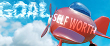 Self Worth Helps Achieve A Goal - Pictured As Word Self Worth In Clouds, To Symbolize That Self Worth Can Help Achieving Goal In Life And Business, 3d Illustration