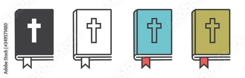 Fotografie, Obraz Christian bible icon vector, bible symbol in line style, book vector different style vector illustration