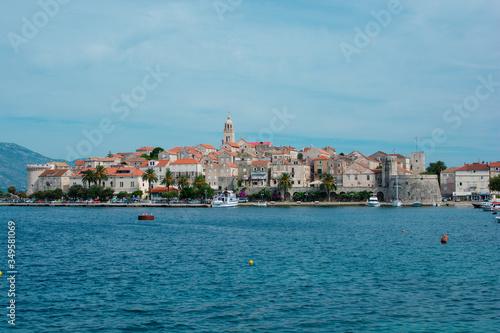 Obraz na plátně Panoramic view of Korcula Island, Croatia, Europe